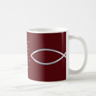 Silver Fish and scripture cover this mug... Coffee Mug
