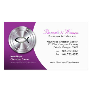 Silver Fish IXOYE Christian Symbol Minister/Pastor Double-Sided Standard Business Cards (Pack Of 100)