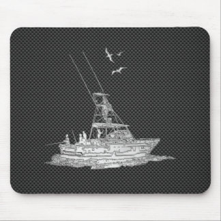 Silver Fishing Boat on Carbon Fiber Mouse Mat