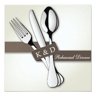 Silver Flatware Taupe Ribbon Rehearsal Dinner 13 Cm X 13 Cm Square Invitation Card