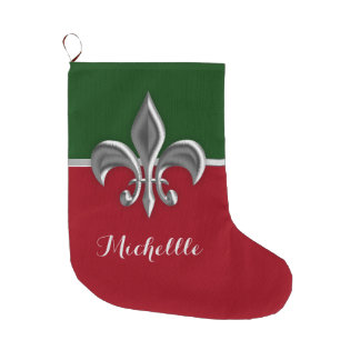 Silver Fleur de Lis Christmas Large Christmas Stocking