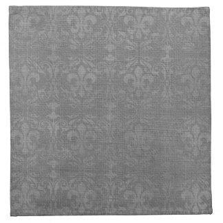 Silver Fleur De Lis Damask Cloth Napkin
