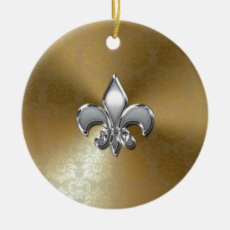 Silver Fleur-De-Lis on Gold Damask Christmas Ornament