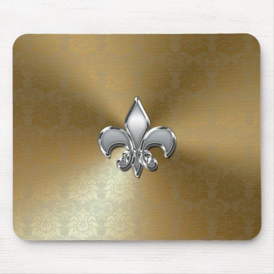 Silver Fleur-De-Lis on Gold Damask Mouse Mat