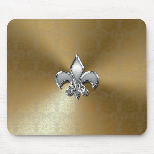 Silver Fleur-De-Lis on Gold Damask Mouse Pad