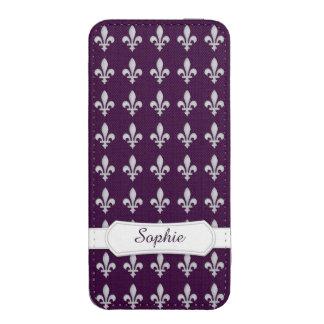 Silver Fleur de lys Royal Purple Monogram iPhone 5