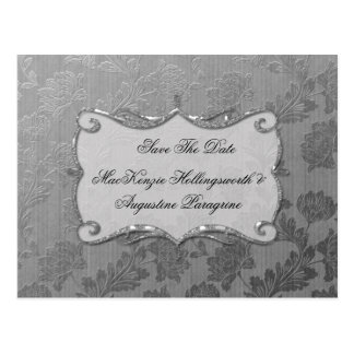 Silver Floral Damask Save The Date Postcard