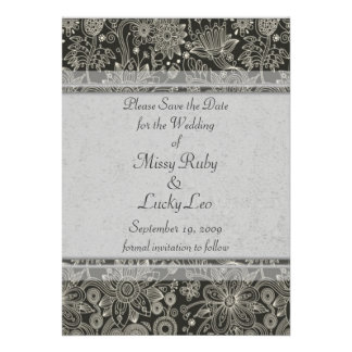 Silver Floral Lace Save the Date Announcement
