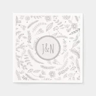 Silver Floral Leaves Rustic Wedding Reception Paper Napkin