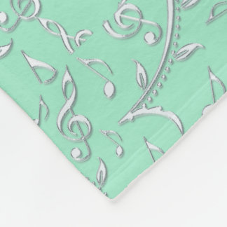 Silver Floral Music Pattern On Mint or Any Color Fleece Blanket