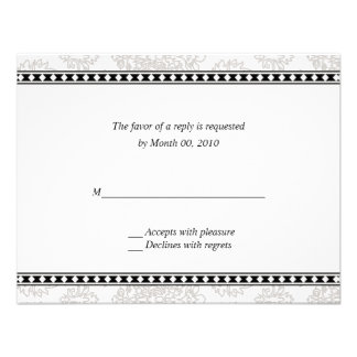 Silver Floral Reply cards Personalized Invite
