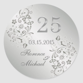 Silver floral swirls 25th Wedding Anniversary Classic Round Sticker