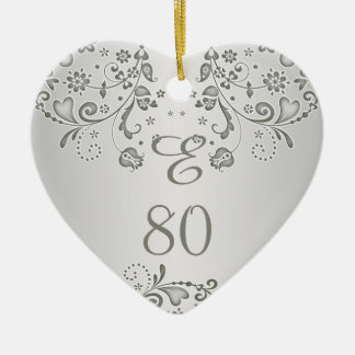 Silver floral swirls 80th Birthday heart Ornament