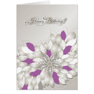Silver floral swirls happy birthday card for girl