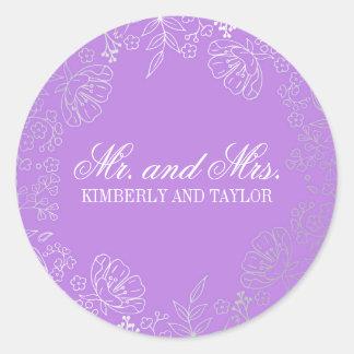 Silver Floral Vintage Purple Wedding Monogram Round Sticker
