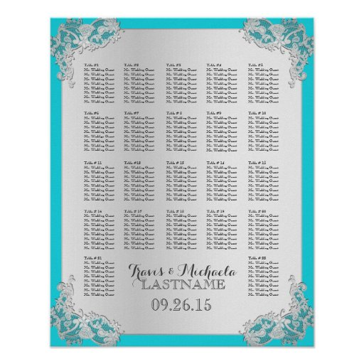 Silver Floral Wedding Seating Chart