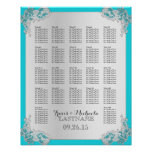 Silver Floral Wedding Seating Chart Poster