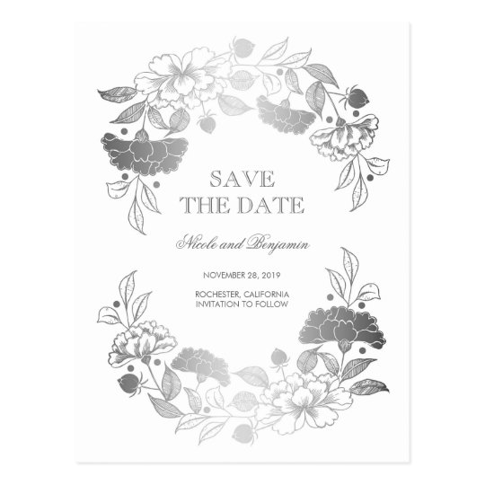 Silver Floral Wreath | Peonies Save the Date