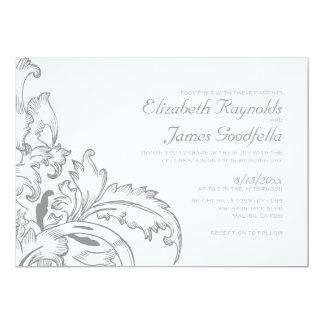 Silver Flourish Wedding Invitations Personalized Invite