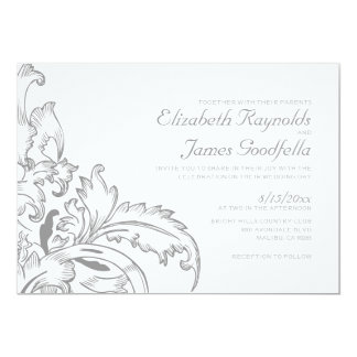Silver Flourish Wedding Invitations