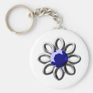 Silver flower with blue stone key ring