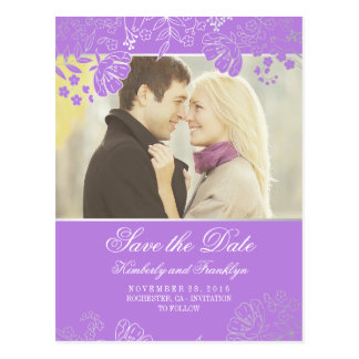 Silver Flowers Purple Vintage Photo Save the Date Postcard
