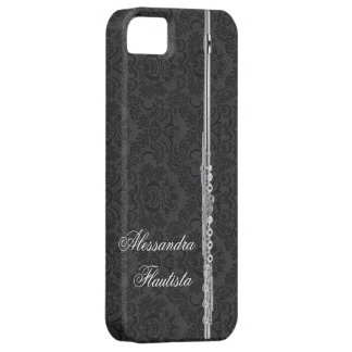 Silver Flute on Black Damask Barely There iPhone 5 Case