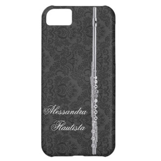 Silver Flute on Black Damask iPhone 5C Case