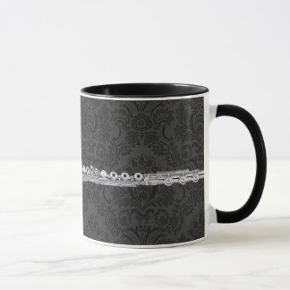 Silver Flute on Black Damask Mug