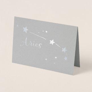 Silver Foil Aries Zodiac Constellation Foil Card