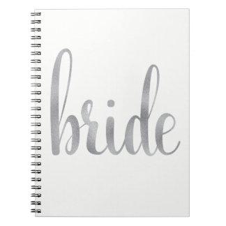 Silver foil bride notebook