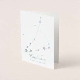 Silver Foil CAPRICORN Zodiac Sign Constellation Foil Card