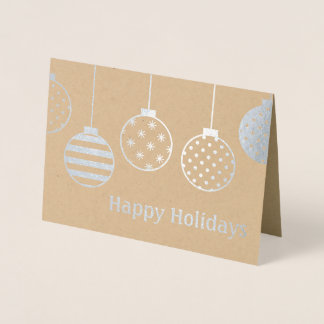 Silver Foil Christmas Ornaments Happy Holidays Foil Card