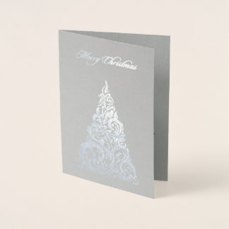 Silver Foil Christmas Tree Christmas Card