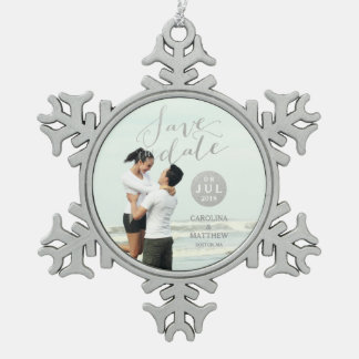 Silver Foil Glamor | Photo Save the Date Holiday Snowflake Pewter Christmas Ornament