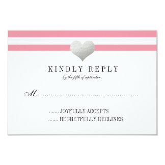 Silver Foil Heart + Stripes RSVP 9 Cm X 13 Cm Invitation Card