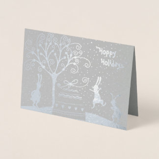 Silver Foil Hoppy Holidays Christmas Greeting Card