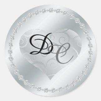 Silver Foil Metallic Heart Monogram Wedding Sticke Round Sticker
