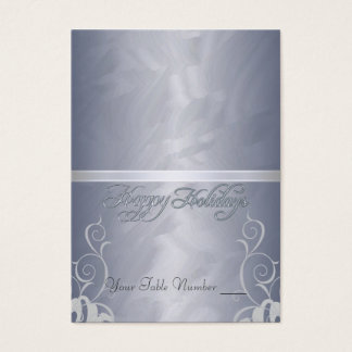 Silver Foil Silver Ribbon Holiday Table Placecard Business Card