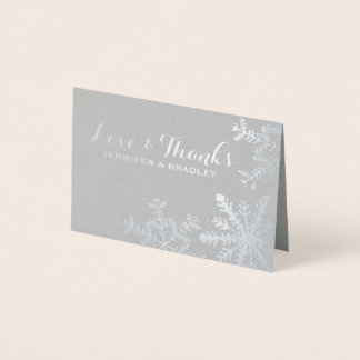 Silver Foil Snowflakes Winter Wedding Thank you Foil Card