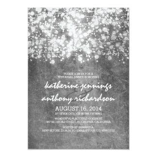 silver foil string lights glitter rehearsal dinner 13 cm x 18 cm invitation card