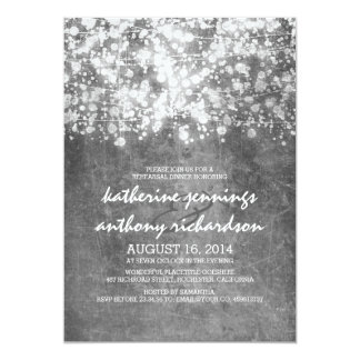 silver foil string lights glitter rehearsal dinner card