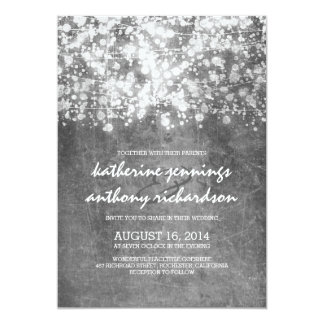 silver foil string lights glitter wedding invites