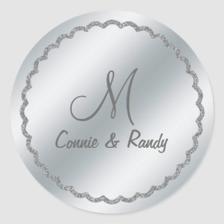 Silver Foil Wedding Monogram Sticker