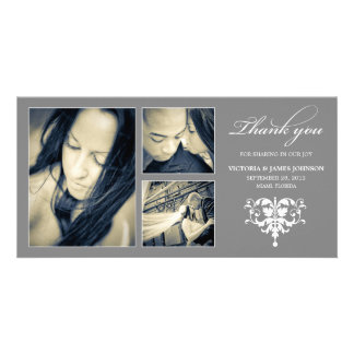 SILVER FORMAL COLLAGE | WEDDING THANK YOU CARD CUSTOMIZED PHOTO CARD
