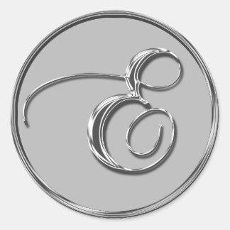 Silver Formal Wedding Monogram E Seal Round Sticker