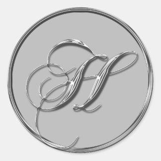 Silver Formal Wedding Monogram H Seal Round Sticker