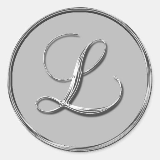 Silver Formal Wedding Monogram L Seal Round Sticker