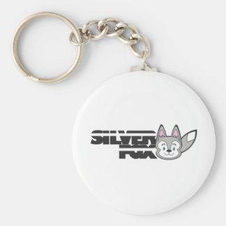 Silver fox logo basic round button key ring