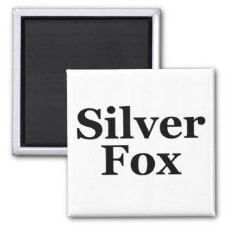 Silver Fox Square Magnet